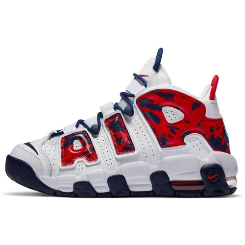 Кроссовки NIKE Air More Uptempo GS размер 4, White/Blue Void/University Red