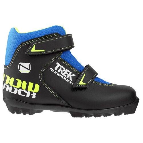 Trek Ботинки лыжные TREK Snowrock NNN ИК, цвет чёрный, лого лайм неон, размер 32