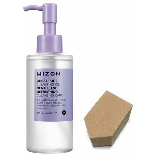 MIZON GREAT PURE CLEANSING OIL Гидрофильное масло для снятия макияжа, 145мл + спонж