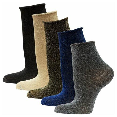 Носки женские HOSIERY 71751 р 23-25 (36-39 размер ноги) с люрексом микс 5 пар