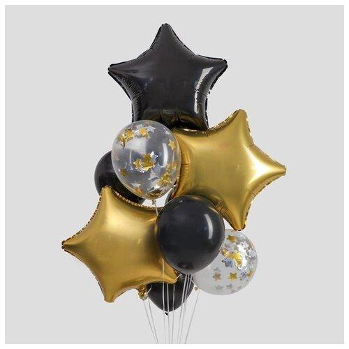 Набор воздушных шаров Страна Карнавалия Черное золото, в наборе 10 шт страна карнавалия набор бумажной посуды с днем рождения маленький джентельмен 3877347 19 шт голубой
