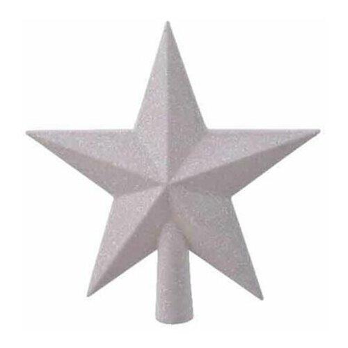 Елочная верхушка звезда делюкс, пластик, глиттер, цвет: белый радужный, 19 см, Kaemingk