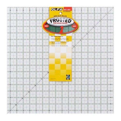 Линейка для пэчворка Frosted, градация в дюймах, квадрат 16 х 16 Olfa QR-16S