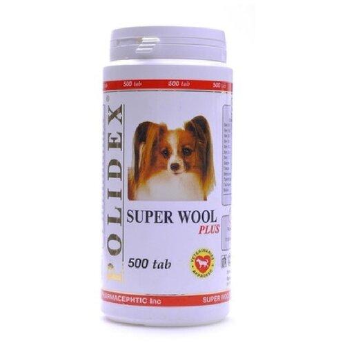 Polidex витамины для собак для шерсти, кожи, когтей и профилактика дерматитов 500таб ( super wool plus) 0955/12955, 0,330 кг, 19120 (2 шт)