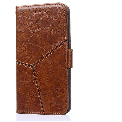 Чехол-книжка MyPads для LG G6 mini / LG Q6 / LG Q6 Plus / LG Q6a M700 прошитый по контуру с необычным геометрическим швом коричневый