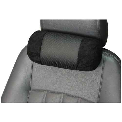 Подушка на подголовник автомобильного кресла MATEX ROLL, цвет черный, 25х11х11 см, экокожа, велюр