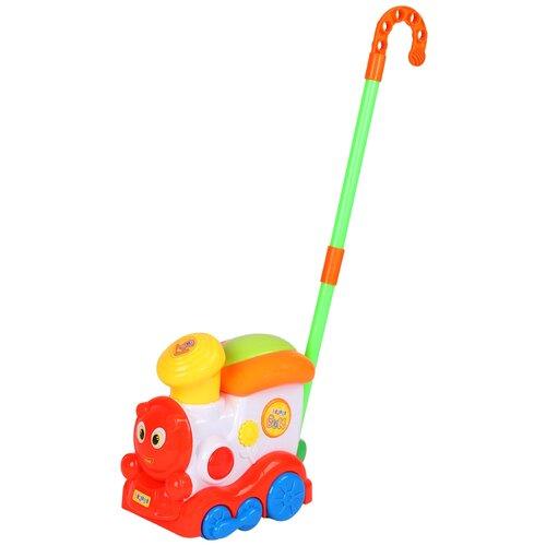 Купить Каталка детская музыкальная Паровозик , игрушка развивающая для малышей, каталка на палочке, игрушка с палочкой, музыкальная игрушка, в/к 22*20*13 см, Play Smart, Каталки и качалки