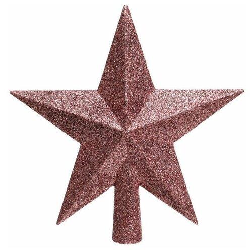 Елочная верхушка звезда делюкс, пластик, глиттер, розовый бархат, 19 см, Kaemingk 029560