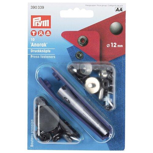 Prym Кнопки непришивные Анорак 390339, черный, 12 мм, 10 шт.