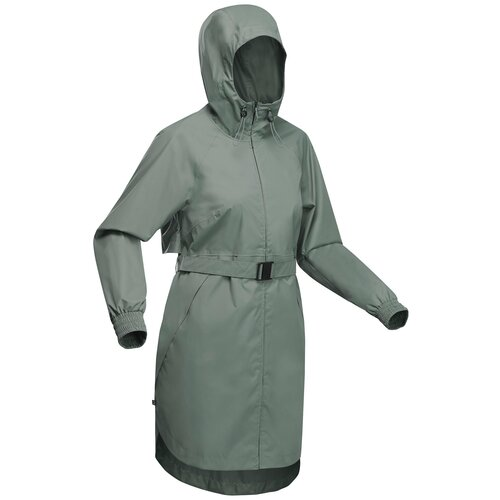 Куртка водонепроницаемая длинная для походов на природе женская Raincut Long, размер: XL, цвет: Пепельный Хаки QUECHUA Х Декатлон