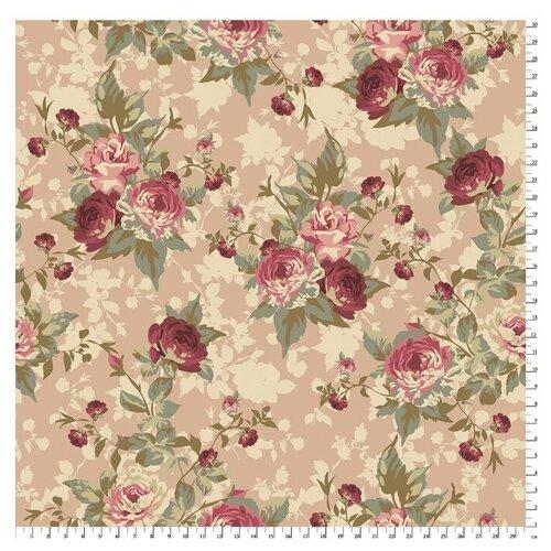 Купить Ткань PePPY Викторианские Розы для пэчворка панель фасовка 60 х 100 см 146±5 г/кв.м Розы ВР-01 бежевый, Ткани