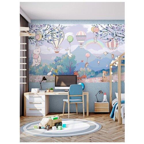 Фотообои для детей животные на воздушных шарах/ Красивые уютные обои на стену в интерьер комнаты/ Детские для мальчика для девочки/ В детскую спальню/ размер 300х180см/ Флизелиновые