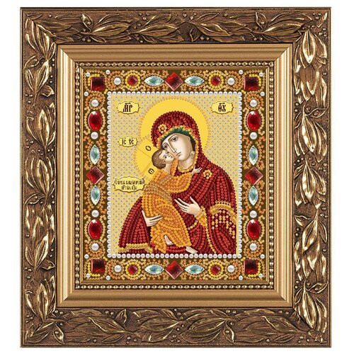 NOVA SLOBODA Набор для вышивания бисером иконы Богородица Владимирская 13 х 15 см (Д6002)