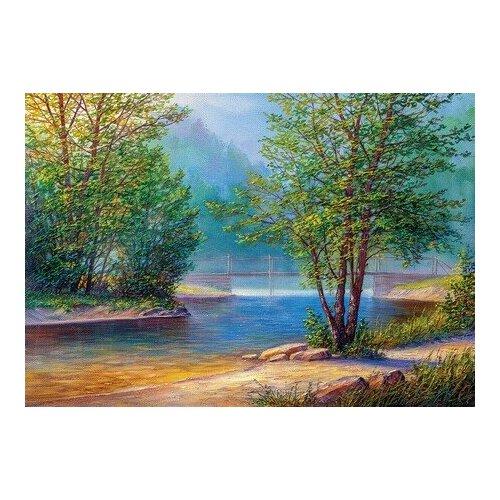 Купить Алмазная мозаика Утро на берегу реки (На подрамнике), картина стразами Цветной 50x65 см., Алмазная вышивка