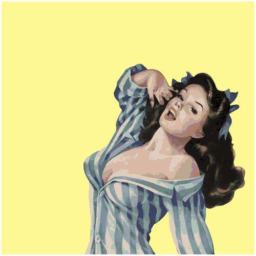 Картина по номерам Девушка в рубашке, 100 х 100 см