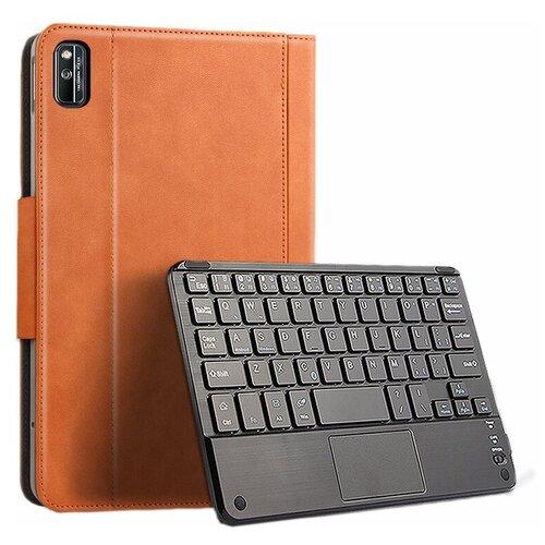 Клавиатура с чехлом MyPads для Huawei Honor Pad V6 (KRJ-W09) съёмная беспроводная Bluetooth-клавиатура коричневая кожаная