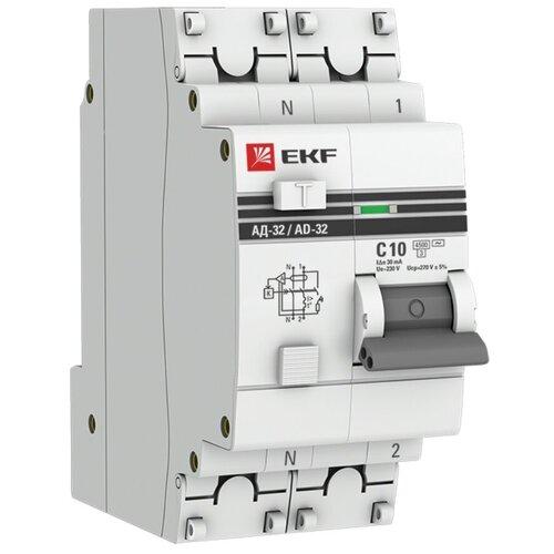 Фото - Дифференциальный автомат EKF АД-32 2П 30 мА C 4.5 кА AC электронный 10 А дифференциальный автомат ekf ад 4 4п 30 ма c 4 5 ка ac электронный 40 а