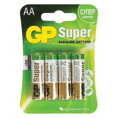 Батарейки комплект 4 шт., GP Super, AA (LR06, 15А), алкалиновые, пальчиковые, блистер, 2 шт. батарейка gp алкалиновые типоразмера аа 4 шт