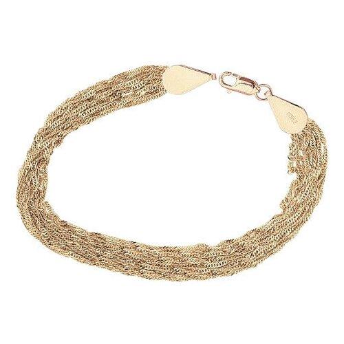 КРАСЦВЕТМЕТ Браслет золотой плетения Сингапур многорядный с алмазной гранью НБ12-1086А, 19 см