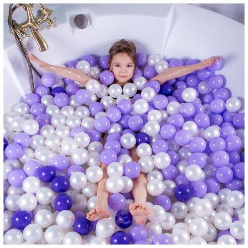 Шарики для сухого бассейна Соломон с рисунком, d 7,5 см, 150 штук, цвет фиолетовый