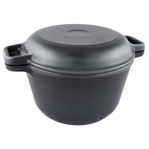 Казан алюминиевый НЕВА МЕТАЛЛ ПОСУДА 6830 с крышкой-сковородой, черный, 3 л казан алюминиевый нева металл посуда 6870 с крышкой сковородой черный 7 л