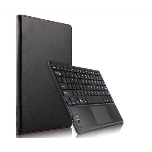 Клавиатура MyPads для Huawei MediaPad T5 10 (AGS2-L09/AL00/W09) съёмная беспроводная Bluetooth в комплекте c кожаным чехлом и пластиковыми наклейками с русскими буквами