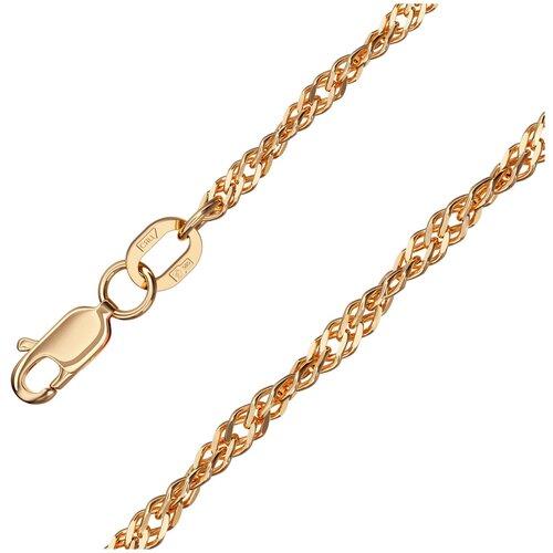 КРАСЦВЕТМЕТ Браслет золотой плетения Сингапур НБ12-028ПГ, 19 см, 2.5 г