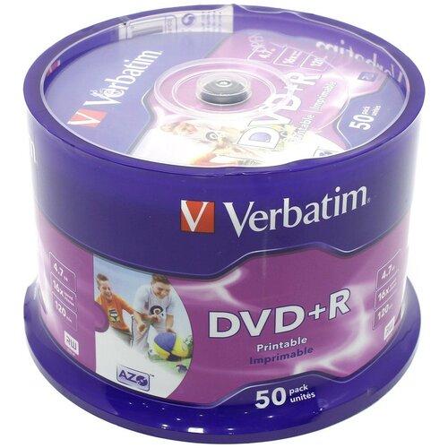 Диск DVD+R Verbatim 4.7 Gb, 16x, Cake Box (50), Printable (50/200). {43512}
