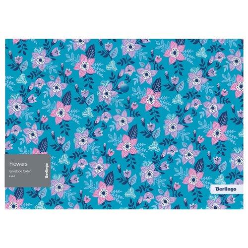 Купить Berlingo Папка-конверт на кнопке Flowers А4, пластик, 12 шт. голубой, Файлы и папки