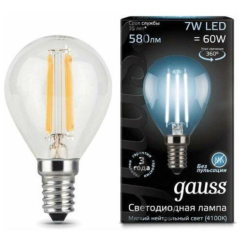 Фото - Лампа светодиодная Black Filament Шар E14 7Вт 4100К Gauss 105801207 (упаковка 10 шт) лампа светодиодная 7вт 230в e14 filament теплый свеча gauss