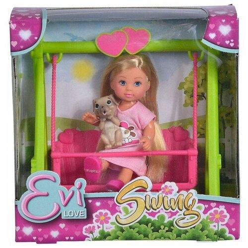 Кукла Simba Еви, на качеле, с собачкой, 12 см 5733443