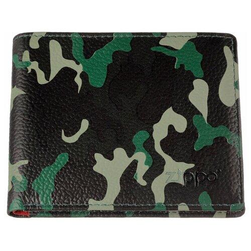 Фото - Портмоне ZIPPO, зелёно-чёрный камуфляж, натуральная кожа, 10,8×1,8×8,6 см портмоне zippo серо чёрный камуфляж натуральная кожа 11 2x2x8 2 см