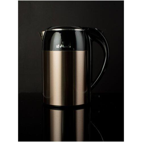 Чайник электрический с адиабатным покрытием, литая сталь внутри, il Monte EK-1801 BRONZE