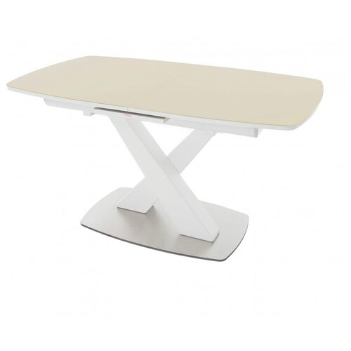 Стол обеденный Орлеан ПМ стекло Opti капучино ноги белые/Стол кухонный/Стол раскладной/Стол бежевый