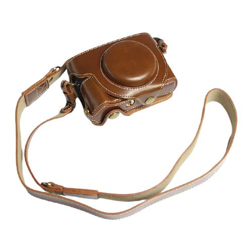 Сумка-кожух-футляр MyPads из качественной импортной кожи для фотоаппарата Canon PowerShot G5 X Mark II/ G7 X Mark III светло-коричневого цвета