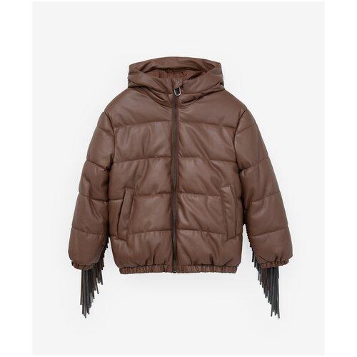 Куртка Gulliver размер 146, коричневый брюки sela размер 146 коричневый