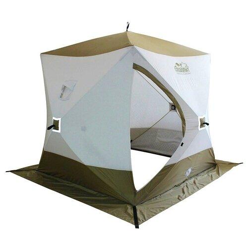 Палатка зимняя куб следопыт Premium 1,8х1,8 м, 3-х местная, 3 слоя, цв. белый/олива палатка tramp lite twister 3