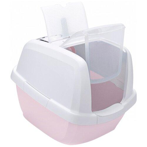 Туалет для кошек закрытый Imac Maddy белый/розовый 62 х 49,5 х 47,5 см (1 шт) туалет для кошек imac maddy закрытый бежево серый