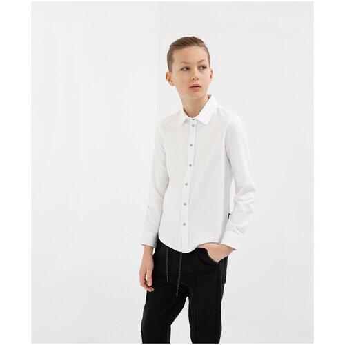 Рубашка белая с длинным рукавом Gulliver для мальчиков, цвет белый, размер 158, модель 200GSBC1404