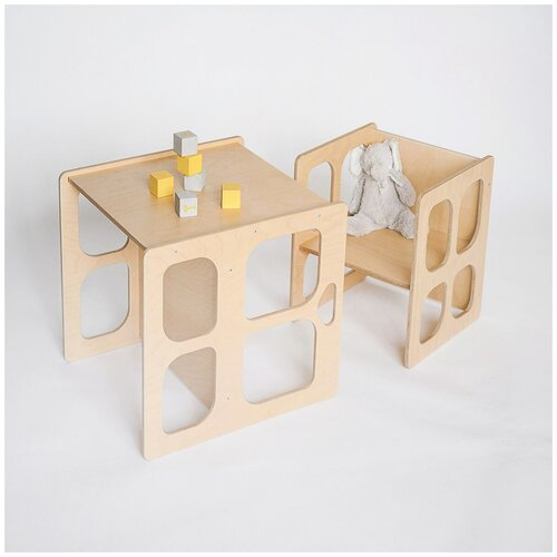 Детский стол скамья и стул Монтессори трансформер, комплект детской мебели стол и стул, цвет натуральное дерево