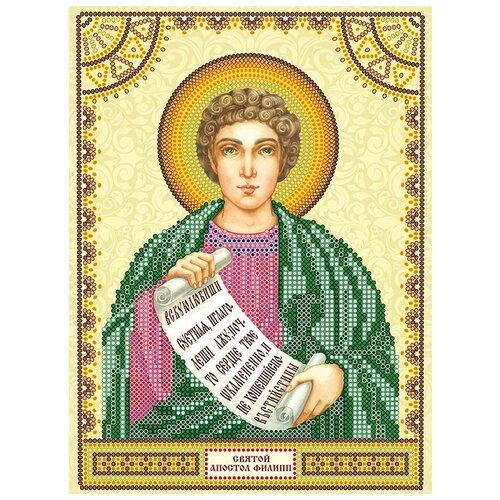 Схема для вышивки иконы бисером на холсте абрис АРТ АСK-036 Святой Филипп 17х23см
