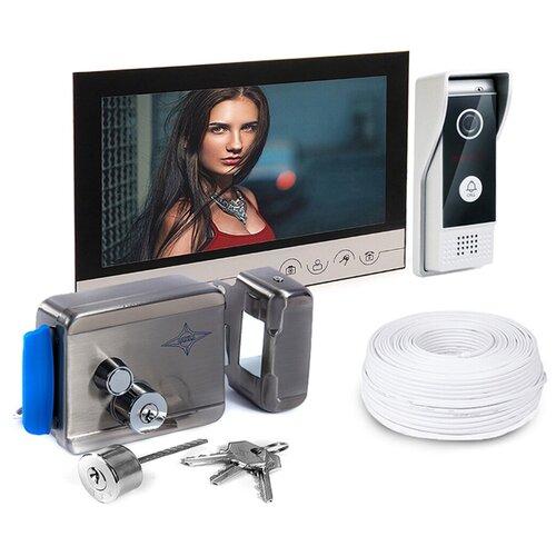 Комплект (домофон - электромеханический замок) - Eplutus V90RM и AX-091, замок на калитку электромеханический с домофоном