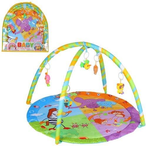 Детский коврик развивающий для малышей с животными, круглый, подвески-погремушки, в сумке, игрушки развивающие, коврик для ползания детский, коврик для детей, игровой коврик детский, коврик для малышей, коврик для ребенка, коврик для детей игровой, мягкий, 61*3*67 см