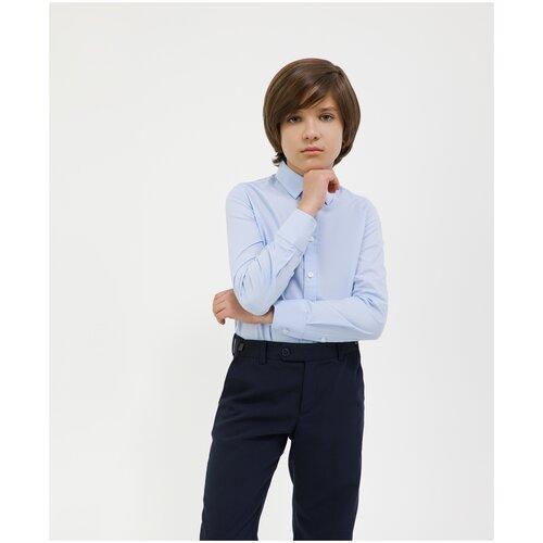 Сорочка голубая с длинным рукавом Gulliver для мальчиков, цвет голубой, размер 164, модель 200GSBC2305