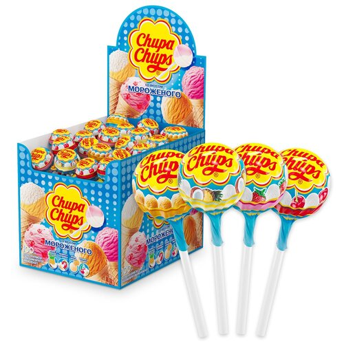 карамель chupa chups xxl flavors playlist ассорти 60 шт Карамель Chupa Chups Мороженое вкус ассорти, 1200 г 100 шт.