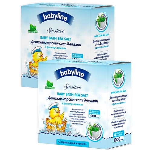 BABYLINE Детская морская соль для ванн с крапивой, 2000 гр Х 2шт недорого