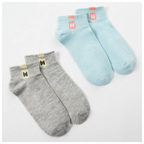 Купить Носки Minaku комплект 2 пары размер 22-24 см (35-38), голубой/серый
