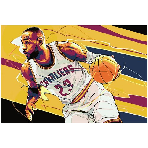 Купить Картина по номерам Баскетболист Арт, 80 х 90 см, Красиво Красим, Картины по номерам и контурам