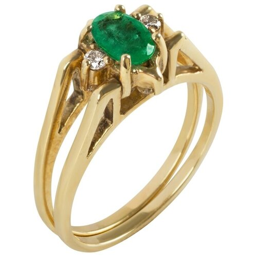 Yvel Кольцо с изумрудом и бриллиантами из жёлтого золота 00335050, размер 16.5 sargon jewelry кольцо с бриллиантами и изумрудом из жёлтого золота r1311 2010 размер 17 5