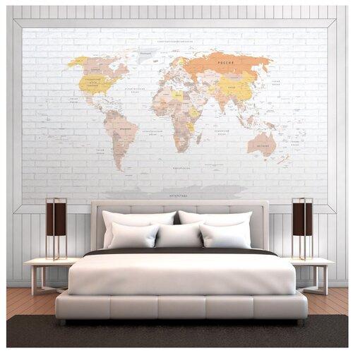Фотообои Карта мира на русском языке в желто-коричневых оттенках на серой кирпичной стене/ Красивые стильные обои на стену в интерьер комнаты/ Детские для мальчика для девочки, для подростков/ На кухню в спальню детскую зал гостиную прихожую/ размер 300х180см над кроватью над столом над диваном/ Флизелиновые